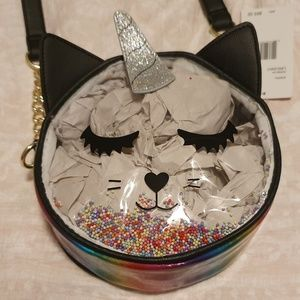 Betsey Johnson Unicorn Cat Rainbow Barrel Bag